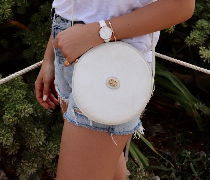 serial repeat: white vintage gucci bag